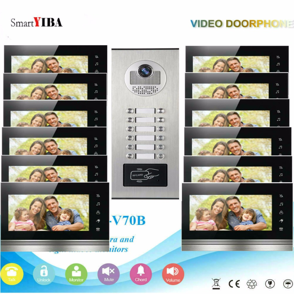 SmartYIBA Home Security 7Inch Monitor Video Door Phone Doorbell Intercom RFID Access Control Camera System For 12 Apartment