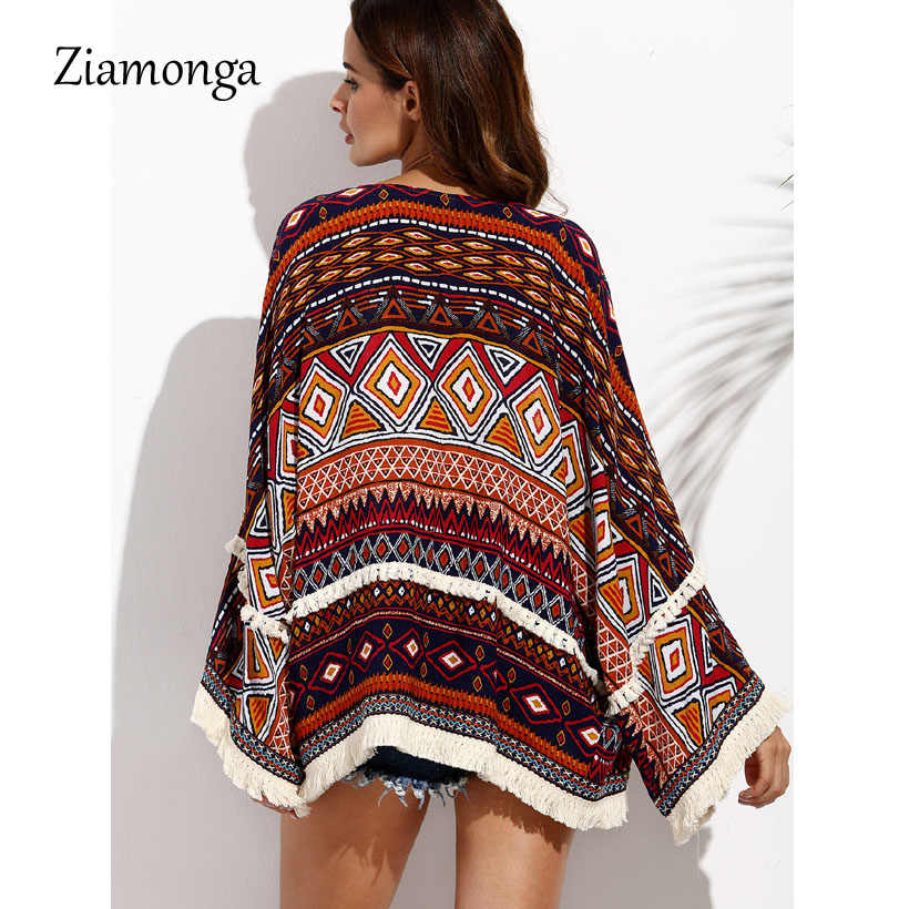 Ziamonga Kimono Loose Women Vintage Stampa Geometrica Cardigan Kimono Boho Top Giacca Camicia Beach Cover Up Protezione Solare Beachwear