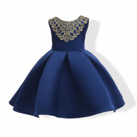 Lace Patchwork Bow Flowers Kids Formal Dresses In Red Blue Brand Gown Kids Party Evening Dresses