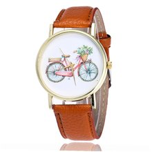 купить New Cute Bicycle Pattern Women's Bracelet Watches Leather Strap Quartz Wristwatch For Kids GIfts Ladies Dress Watches Clock по цене 95.2 рублей