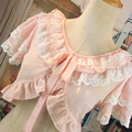 Pink Black Beige White Lace Ribbon Bow Lolita Lace Ruffles Short Sleeve Cape Short Design Chiffon Shirt Princess Collocation