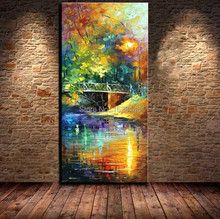 Knife Oil Painting 100% Hand painted Landscape Oil Paintings Creek Bridge in Park Abstract Canvas Art Home Decor Picture 1p n7