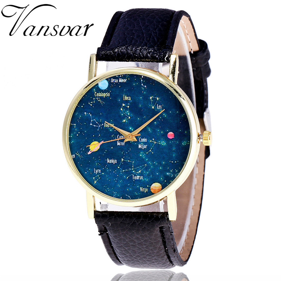 Vansvar Fashion Constellation Watch Casual Women Wrist Watches Ladies Leather Galaxy Quartz Watches Relogio Feminino V37 xeltek private seat tqfp64 ta050 b006 burning test