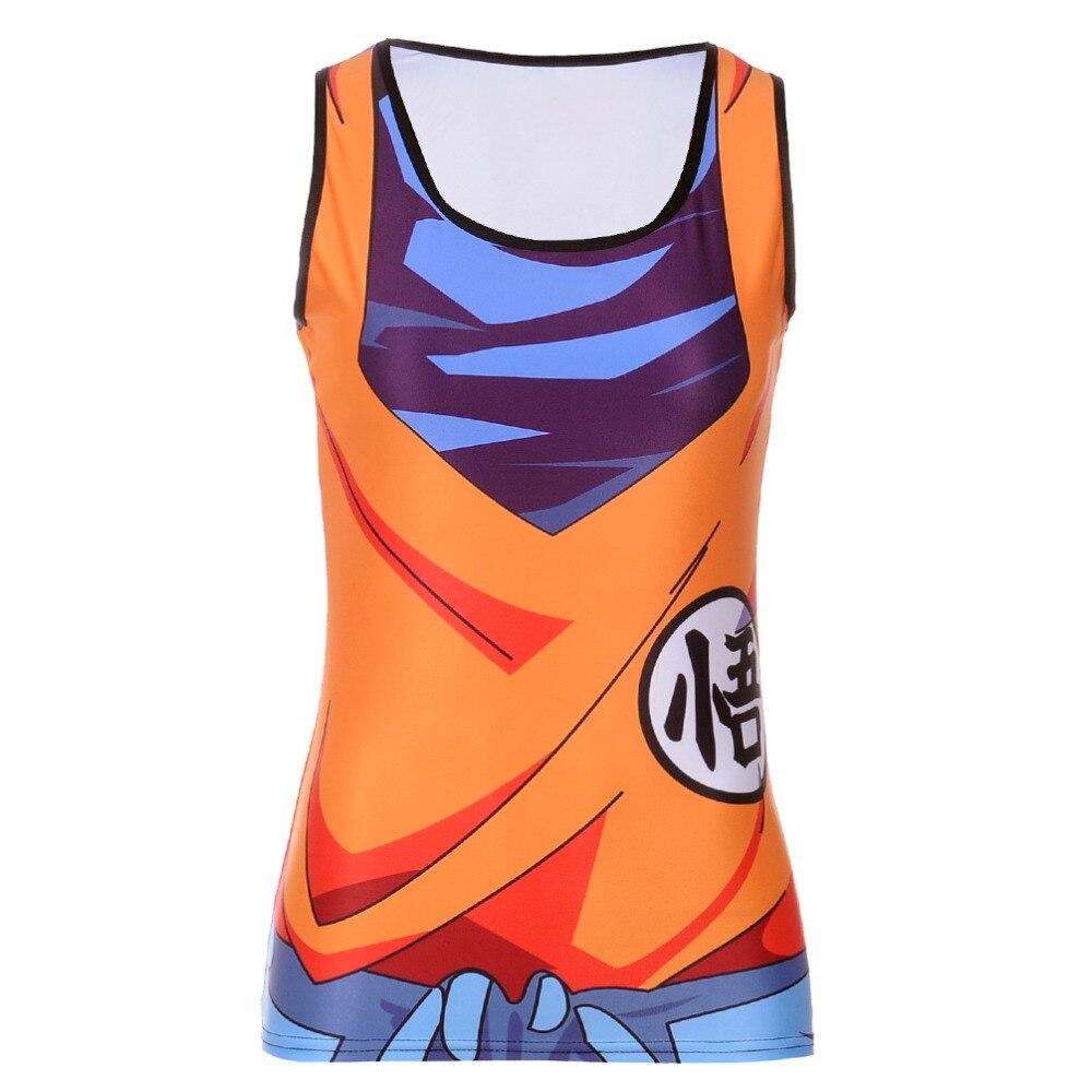 Fashion Summer Woman Lady Sleeveless Blouse O-Neck Saiyan Goku Dragon Ball Naruto 3D Print Vest   Tank     Tops   T-shirt Women