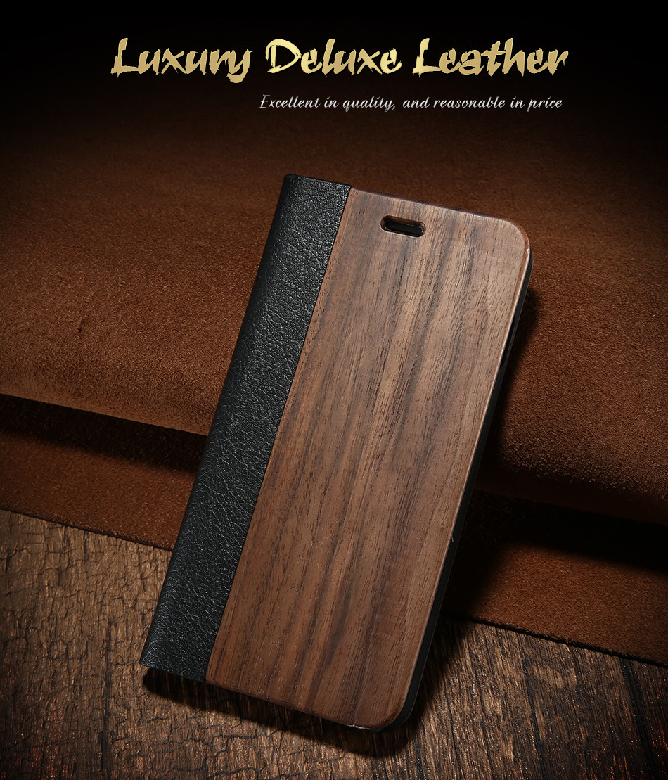 DOEES Real Wood Leather Case For iPhone 6 6S 7 7 Plus Cover Stand Holder Card Slot Vintage Cover For iPhone 6 7 Flip Wallet Case (1)