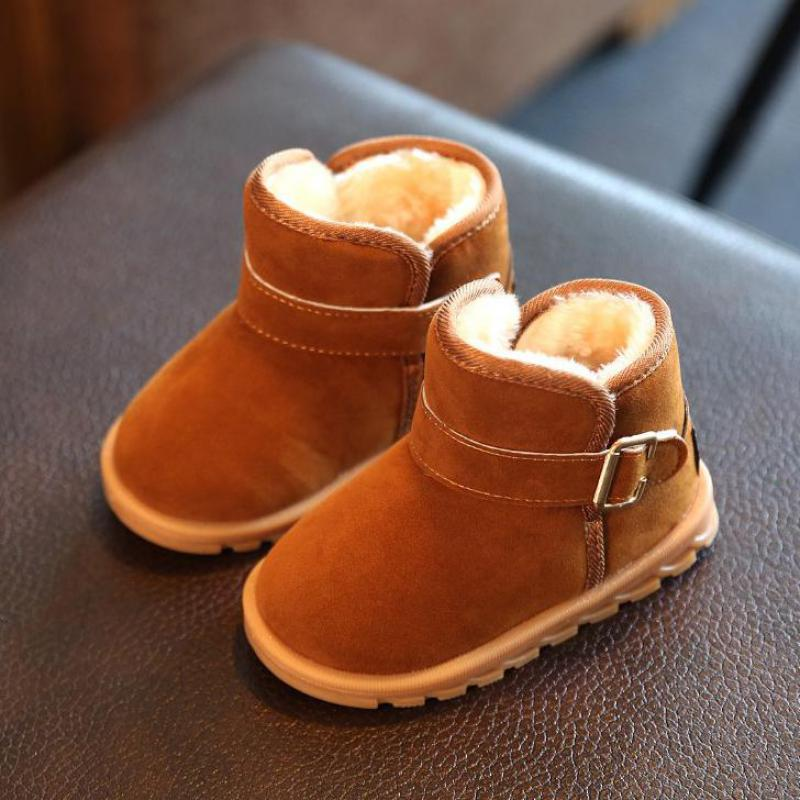 Winter Boys Snow Boots For Girls Children Ankle Boots Add Plush Cotton Suede Buckle Warm Fashion Baby Shoes(Toddler/Little Kids)
