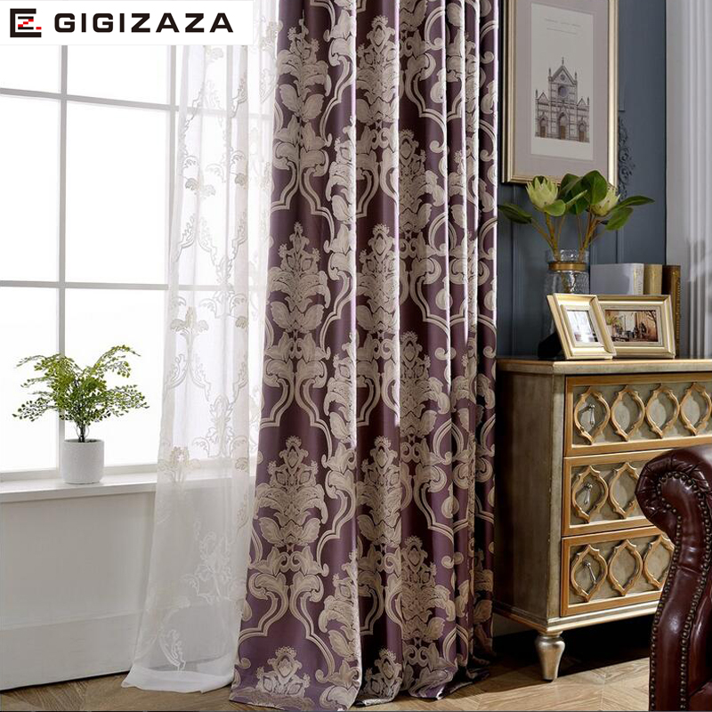 NewEuropean Jacquard Window Curtains Luxury Fabric High Quality GIGIZAZA Light Shading Blinds For Livingroom Purple Custom