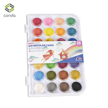Conda 28 Colors Professional Solid Watercolor Paints Outdoor Fundamentals Painting Pigment Portable Sketch Color Art Tools