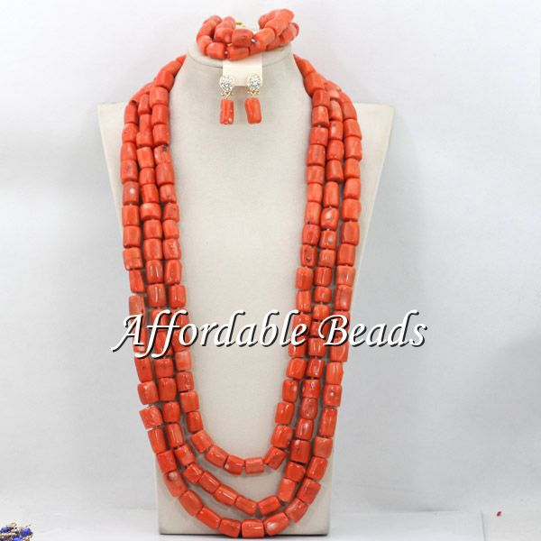 Long Style Coral Beads Nigerian Set New African Coral Jewelry Set Free Shipping CG063Long Style Coral Beads Nigerian Set New African Coral Jewelry Set Free Shipping CG063
