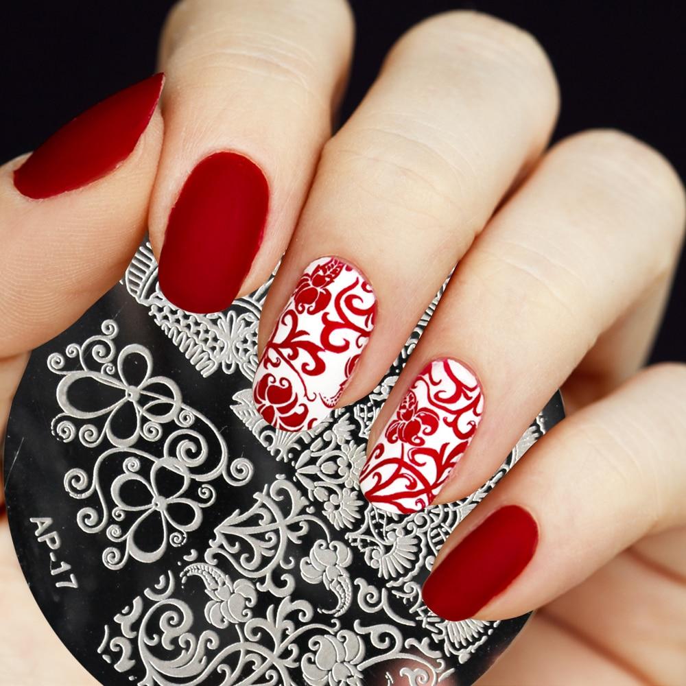pandox ap17 elegant flower nail art stamp template image