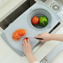 3 In 1 Household Multi-Function Drain Sink Cutting Board Filter Meat Vegetable Fruit Basket Storage Kitchen Tools