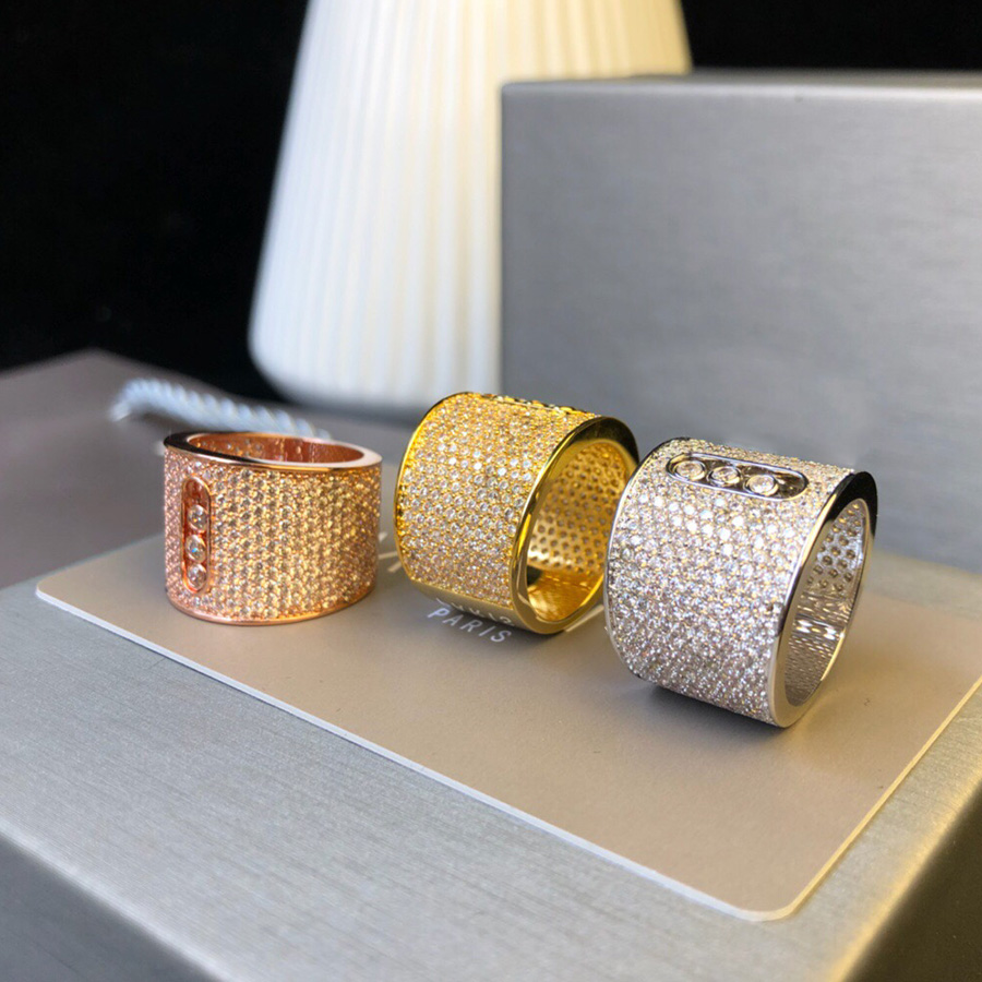Fashion Famous Brand Gorgeous Silver Rose Gold Color Big Ring Luxury Full Stone Moving Stone For