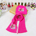 1set Cartoon Elsa Anna Lovely Baby Girls Soft Knit Wool Hat Scarf Sets Children Gifts Free Shipping 3 Colors For Choose