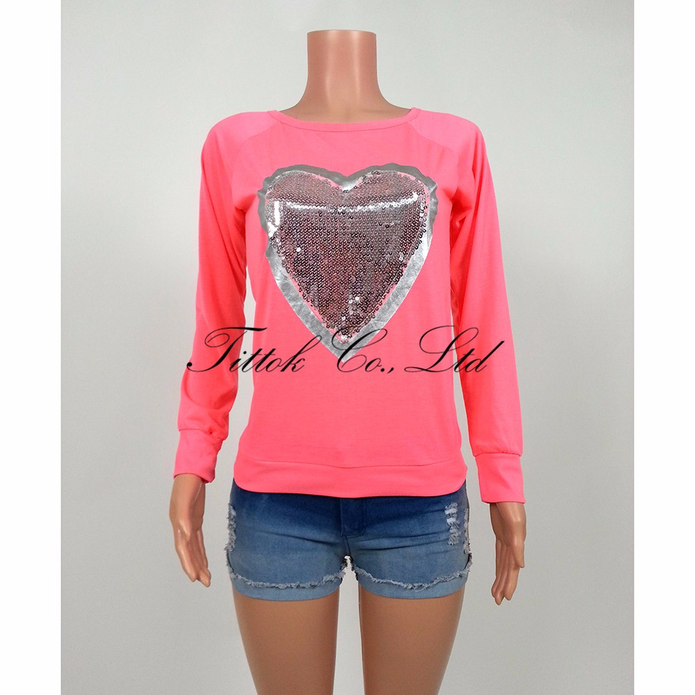 HTB1jWP0MVXXXXXHXFXXq6xXFXXXG - Fashion Autumn t shirt women heart sequin top round neck
