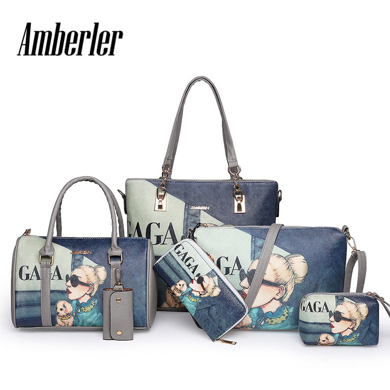 Amberler High Quality PU Leather Women Handbags 6 Pieces Set Printed Shoulder Bag Ladies Crossbody Bags Large Capacity Tote Bags 2018 fashion tote bag for women composite bags high quality pu leather ladies handbags brand large capacity women crossbody bags