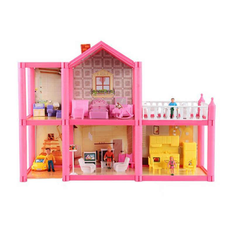משפחת DIY בעבודת יד בית בובות וילה מיניאטורות ABS בתי מציאותי 3D בית בובות בית ריהוט קיט לילדים מתנות