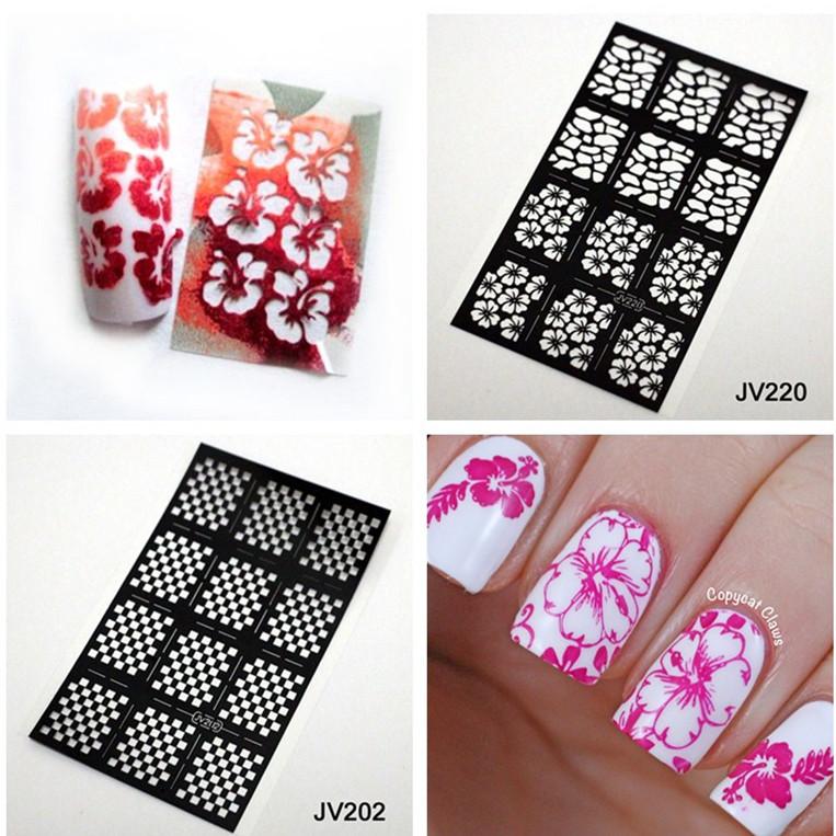 12pcs sheet nail stencil nail vinyl reusable nail stencil easy use image guide polish manicure. Black Bedroom Furniture Sets. Home Design Ideas