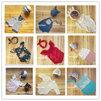 DVOTINST Newborn Baby Photography Props Knit Crochet Hat Outfit 2pcs Set Fotografia Accessory Infant Studio Shoot