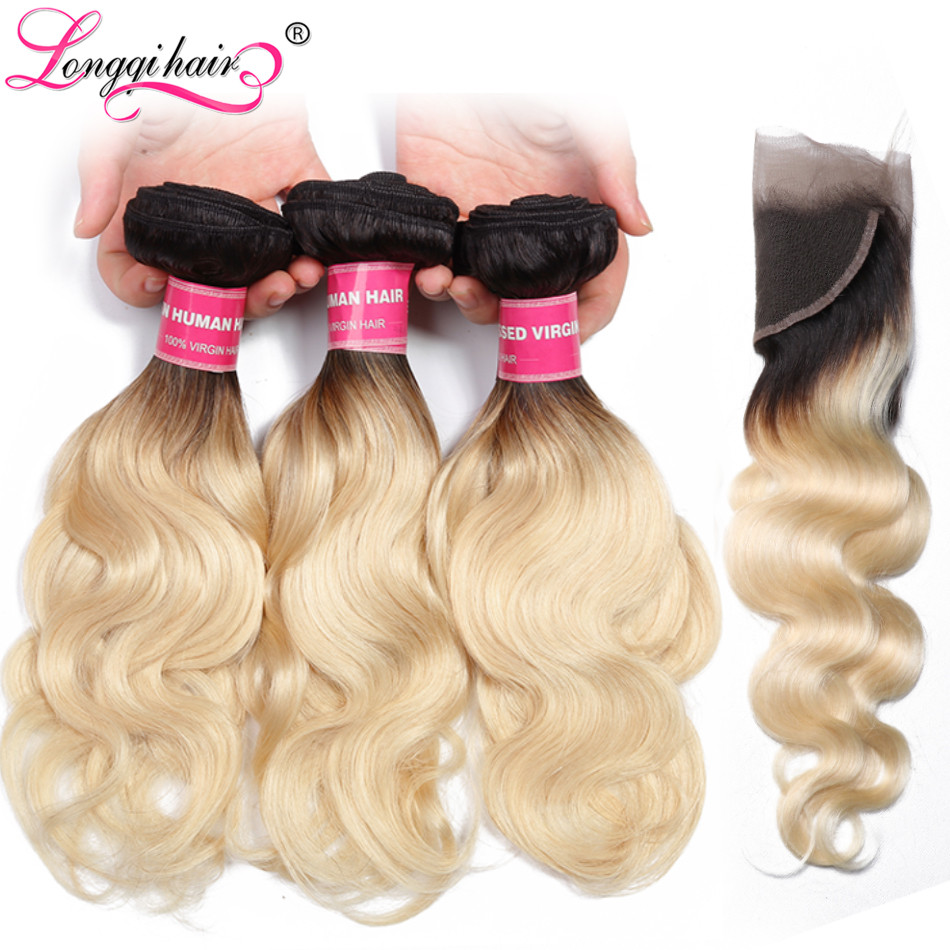 Longqi Pre Colored Ombre Remy Human Hair Bundles With Closure 13x4 T1b 613 Blonde Brazilian Body