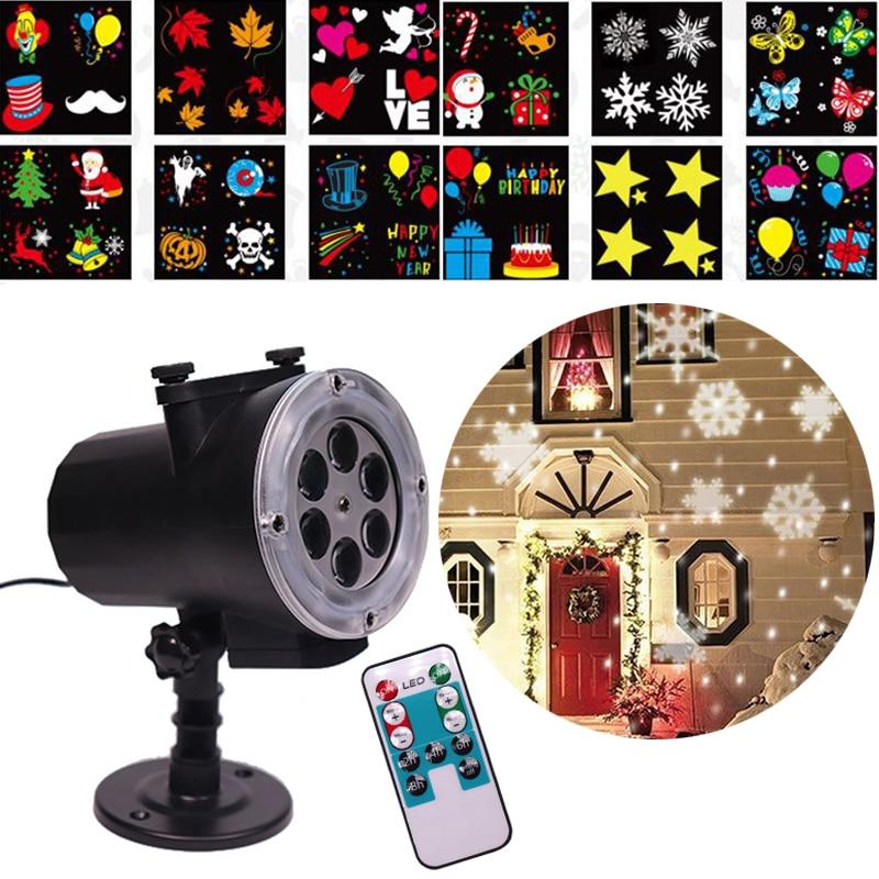 12 modèles bricolage noël Laser flocon de neige pelouse projecteur extérieur LED étanche Disco lumière père noël noël noël Navidad fête décor