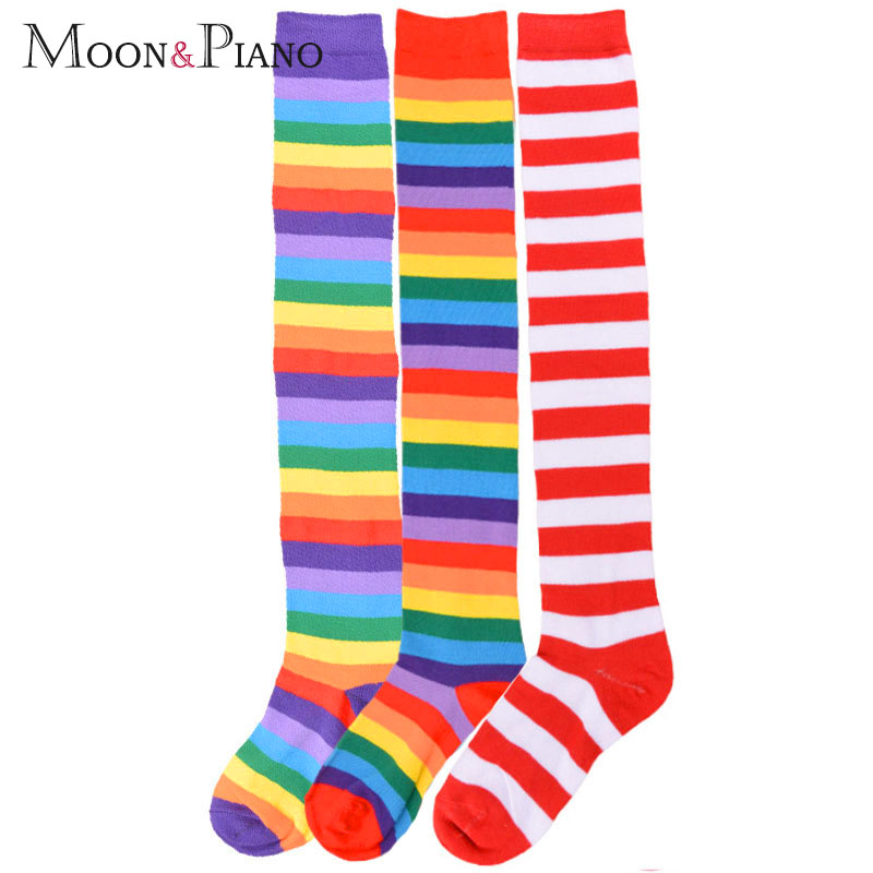 European and American Trend Rainbow Stripes long Paragraph large Size long Tube Was Thin Over The Knee legs ladies Socks|Stockings|   - AliExpress