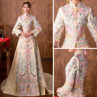 High Quality 2019 Traditional Chinese Wedding Dress Embroidery Cheongsam Qipao Dresses Retro Dressing Gown Bride Traditions