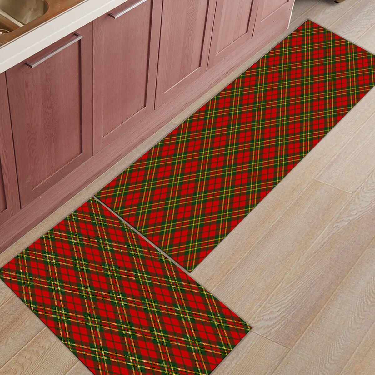 Christams Check ethnique 2 pièce tapis de cuisine paillassons pour entrée manière saleté débris boue trappeur accessoire ensembles sol tapis zone