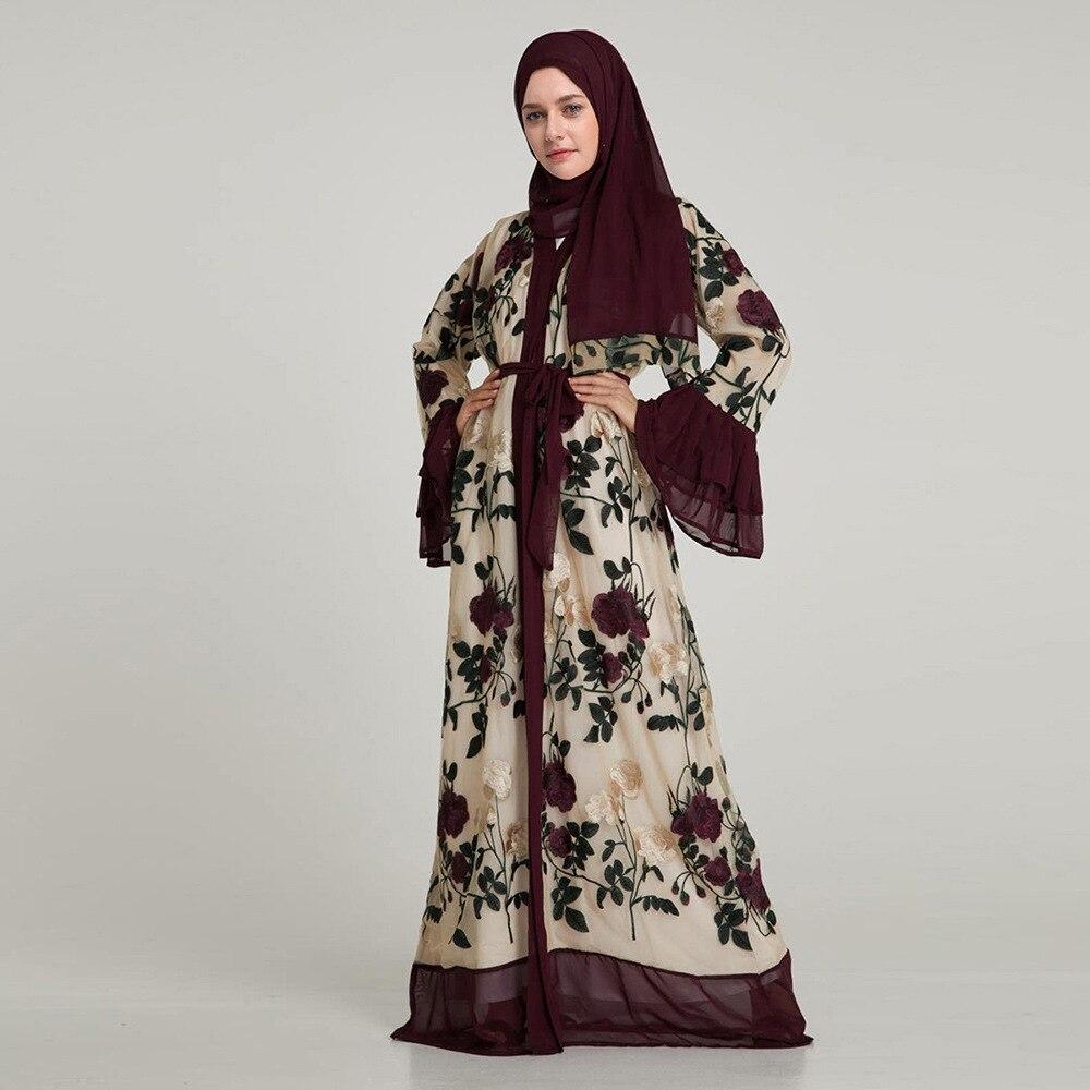 cb7361d4f848dd Moslim Maxi Jurk Indian Abaya 2 3 Mouwen Dubai Abaya Wit Borduren Kimono  Jubah Ramadan