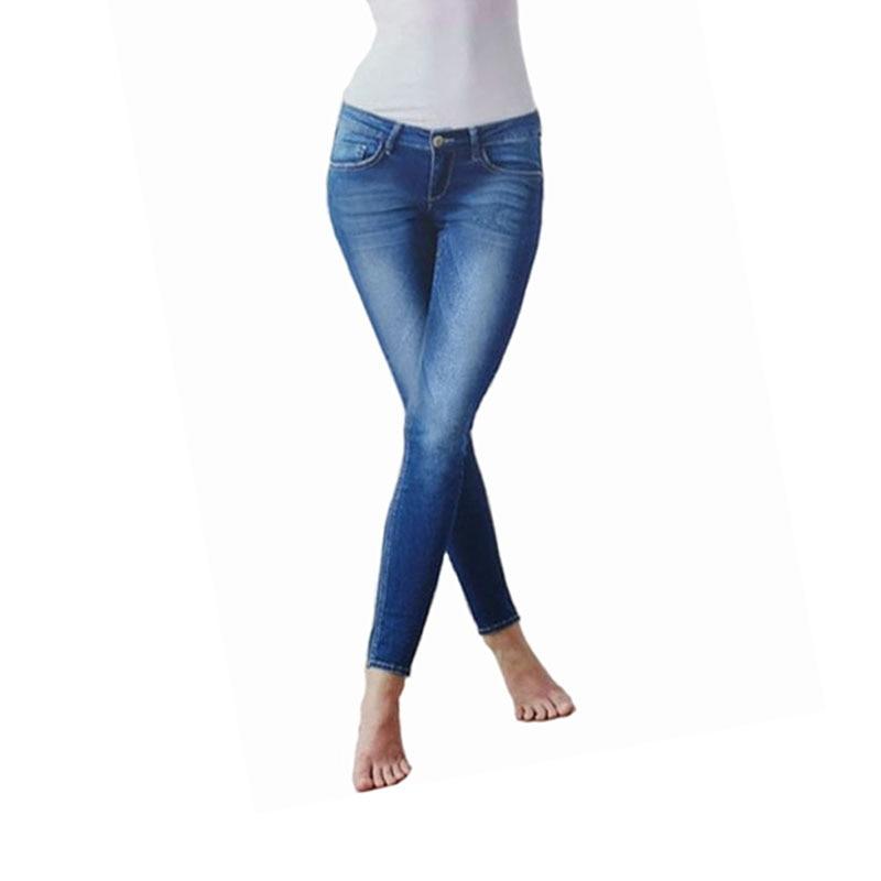Slim jeans women tight low-rise jeans female denim elastic waist women jeans blue cotton pants tight denim джинсовые брюки