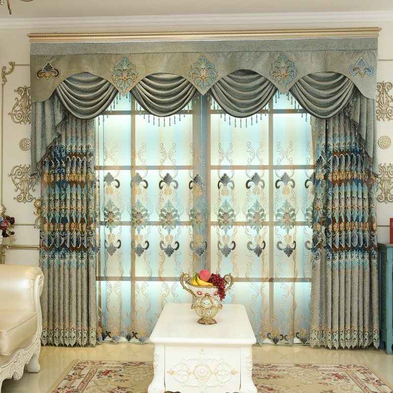 Luxury quality chenille embroidered curtain living room bedroom tulle curtains curtain treatment curtain home decor in Curtains from Home Garden