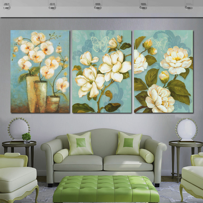 Home decor pintura em tela flor cl ssico pinturas modernas for Sala de estar 20m2