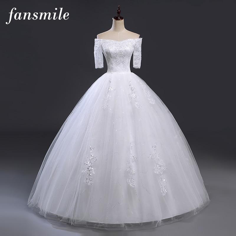 Fansmile Off Shoulder Lace Ball Wedding Dresses Vestido de Noiva Sleeve Elegant Customized Plus Size Wedding