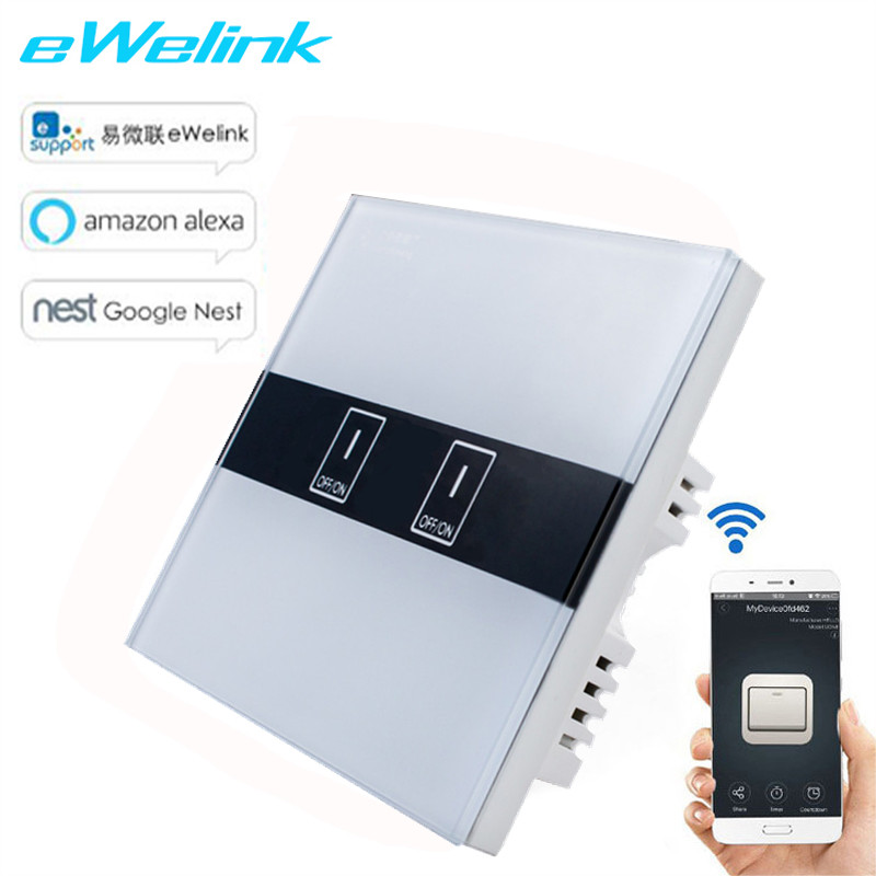 UK Standard eWelink APP Control Switch, wireless Control Touch Switch via Android and IOS for Smart Home Wifi wall light switch ewelink us type 2 gang wall light smart switch touch control panel wifi remote control via smart phone work with alexa ewelink