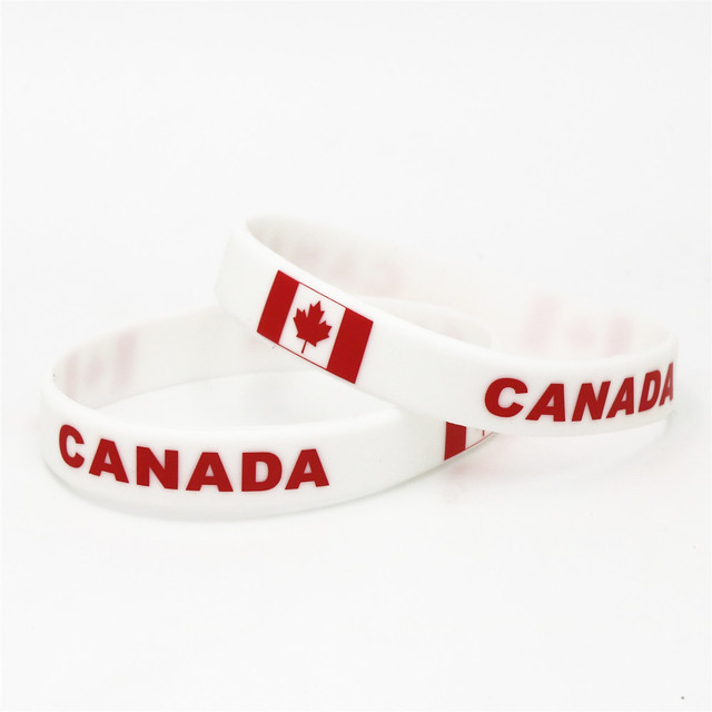 1PC Canada Country Flag Silicone Wristband Football Soccer Team Fans Sports Elastic Rubber Bracelets&Bangles Armband SH239