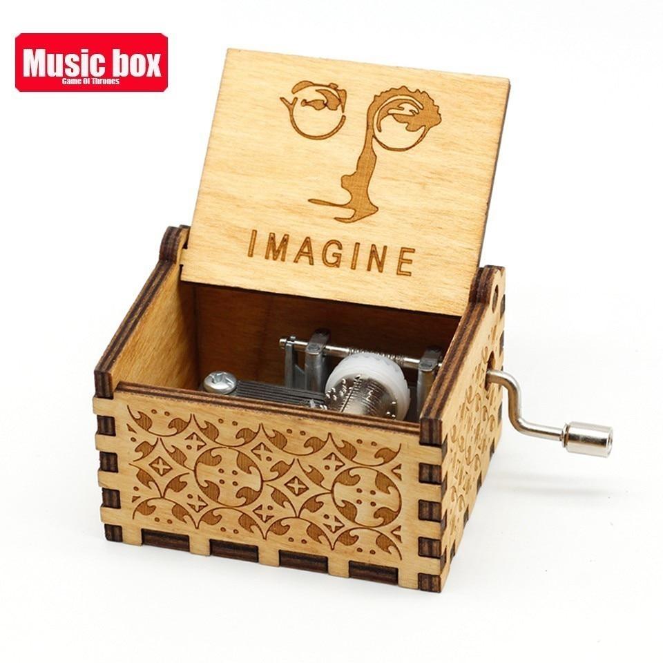 Горячая античная резная деревянная рукоятка Симпсоны игра трон музыкальная шкатулка подарок на день рождения Шкатулка анонимичность украшения Звездные войны - Цвет: Imagine John