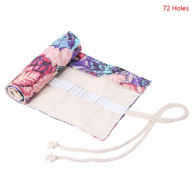 Maple Leaf 12/24/36/48/72 Holes Canvas Roll Up Makeup Pencil Bag Wrap Curtain Pen Case Holder Storage Pouch School Supplies