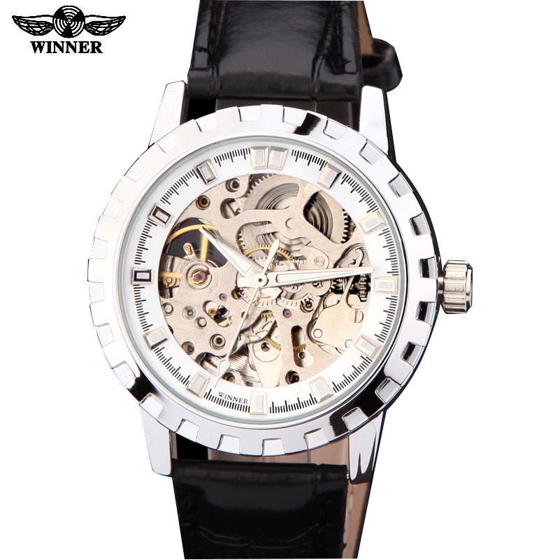 Prix pour Montres hommes marque de luxe gagnant sport armée militaire squelette automatique mécanique montres bracelet en cuir relogio masculino