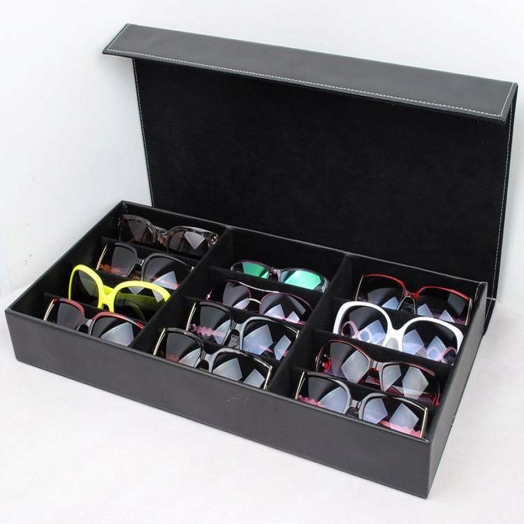 New Arrival 12 Grids Black Color Artificial Leather Sunglass Glassess Display Storage Box Tray