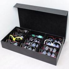 Новое поступление 12 сетки черный цвет искусственная кожа солнцезащитных очков Glassess показать коробка для хранения лоток