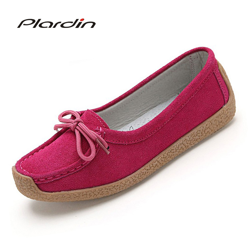 plardin 2017 Ballet Summer Women round toe Genuine Leather lace up Shoes Flats Flexible  Casual Fashion Pregnant Woman Loafers