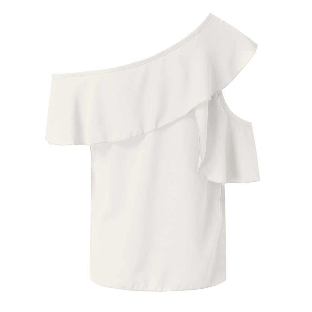 النساء السيدات أزياء مثير واحد الكتف قمصان بلوزة الجوف خارج بلوزات من الشيفون تونك chemisier فام blusa موهير دي مودا 2019 جديد