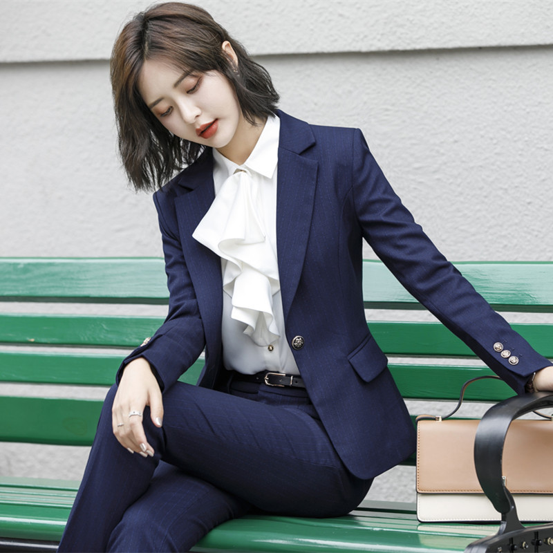 Ladies Business Wear 2019 Autumn Winter High Quality Slim Striped Long Sleeve Small Suit Jacket Casual Skirt And Pants Set
