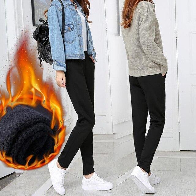 Moda Otoño e Invierno Mujer Pantalones casuales clásicos cintura elástica  Harem Pantalones mujer alta cintura mantener 08f52b73007a