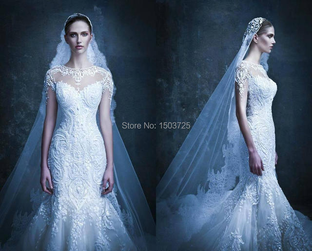 2015 Michael Cinco Mermaid Wedding Dresses Sheer Straps Vintage ...