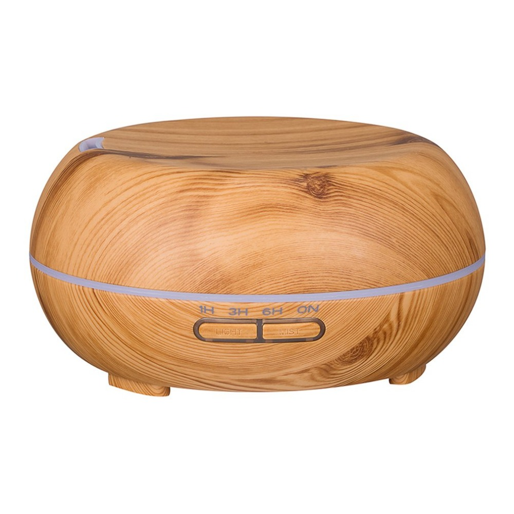 Round Ultrasonic Humidifier 300ml Mist Maker Aroma Diffuser with Colorful LED Light Wood Grain Aromatherapy Diffuser Machine colorful wood grain print flannel bath rug