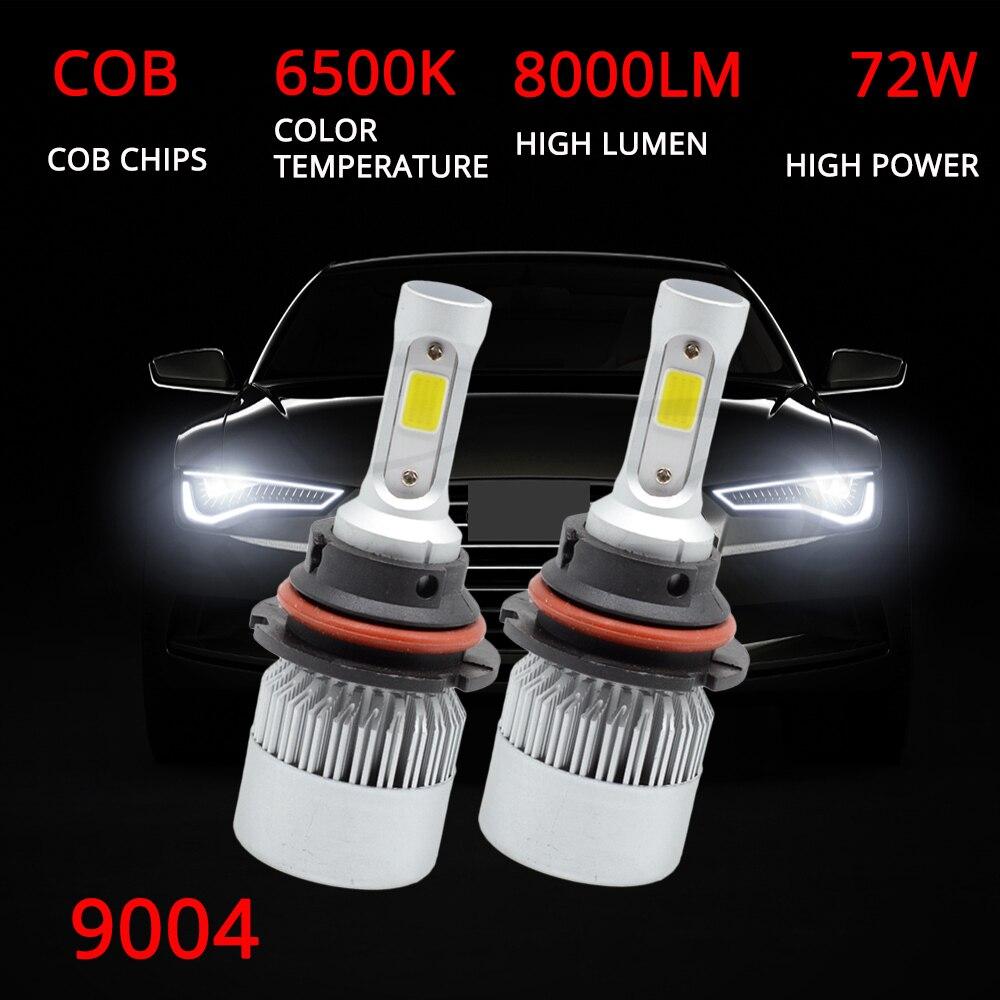 Hviero 2X Car Heahlight Fog Lighting 9004 HB1 Hi-Lo High Low Beam S2 COB IP67 Waterproof 6500K 72W 8000LM Auto Headlamp Led DC 12v 24V