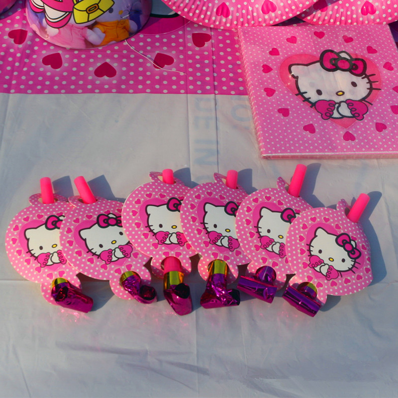 6pcs 14cm Party Noise Maker Pink Cute Hello Kitty Blowout Cartoon Theme Boy Birthday Party supplies Cartoon Decoration Horn