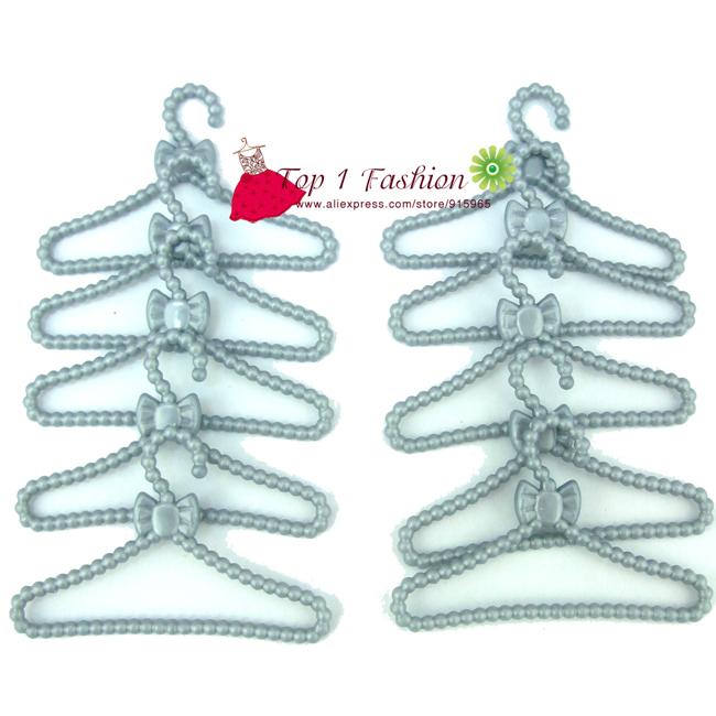Free shipping 10pcs set grey color Clothes hangers for barbie doll accessories
