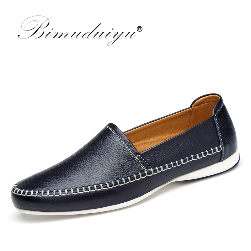 BIMUDUIYU Brand Causal Shoes Men Loafers Genuine Leather Moccasins Driving Shoes Handmade High Quality Simple Design Flats Shoes high quality genuine leather men shoes lace up casual shoes handmade driving shoes flats loafers for men oxfords shoes