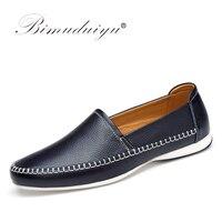 Nuevo Zapatos casuales de marca BIMUDUIYU mocasines de cuero genuino zapatos de conducción hechos a mano zapatos planos de diseño Simple de alta calidad